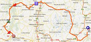 De kaart met het parcours van de derde etappe van het Critérium du Dauphiné 2013 op Google Maps