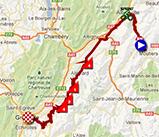 De kaart met het parcours van de zesde etappe van het Critérium du Dauphiné 2013 op Google Maps