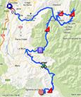 De kaart met het parcours van de zevende etappe van het Critérium du Dauphiné 2013 op Google Maps