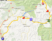 De kaart met het parcours van de achtste etappe van het Critérium du Dauphiné 2013 op Google Maps