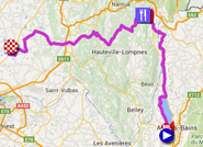 De kaart met het parcours van de tweede etappe van het Critérium du Dauphiné 2015 op Google Maps