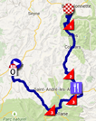 The map with the race route of the fifth stage of the Critérium du Dauphiné 2015 on Google Maps