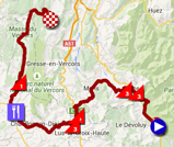 The map with the race route of the sixth stage of the Critérium du Dauphiné 2015 on Google Maps
