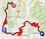 De kaart met het parcours van de zesde etappe van het Critérium du Dauphiné 2015 op Google Maps
