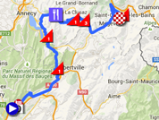 De kaart met het parcours van de zevende etappe van het Critérium du Dauphiné 2015 op Google Maps