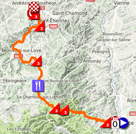 The map with the race route of the 1st stage of the Critérium du Dauphiné 2018 on Google Maps