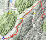 The map with the race route of the 5th stage of the Critérium du Dauphiné 2018 on Google Maps
