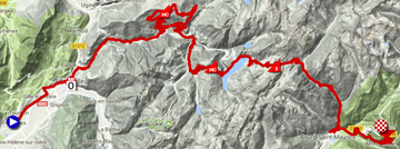 The map with the race route of the 6th stage of the Critérium du Dauphiné 2018 on Google Maps