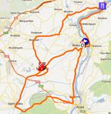 La carte du parcours de l'étape 1 de l'Etoile de Bessèges 2012 sur Google Maps