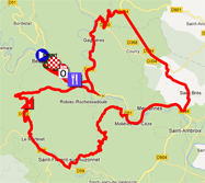 La carte du parcours de l'étape 3 de l'Etoile de Bessèges 2012 sur Google Maps