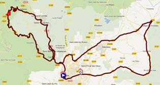 La carte du parcours de l'étape 5a de l'Etoile de Bessèges 2012 sur Google Maps