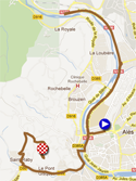 La carte du parcours de l'étape 5b de l'Etoile de Bessèges 2012 sur Google Maps