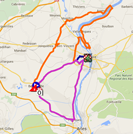 De kaart met het parcours van etappe 1 van de Etoile de Bessèges 2015 op Google Maps