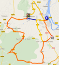 The map with the race route of stage 4 of the Etoile de Bessèges 2015 on Google Maps