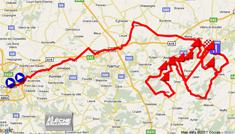 La carte avec le parcours de la Flèche Wallonne 2011 sur Google Maps