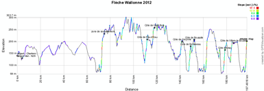 The profile of the Flèche Wallonne 2012
