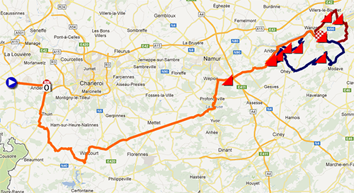 The Flèche Wallonne 2013 race route in Google Maps/Google Earth