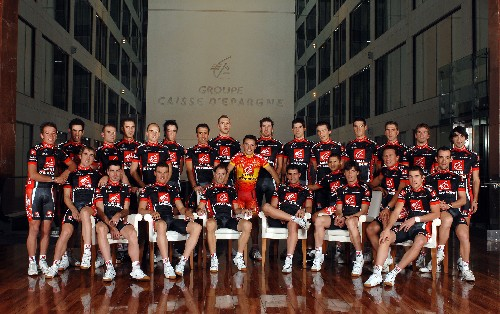 The official Caisse d'Epargne 2008 team photo taken in Caisse d'Epargne's head office