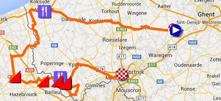 Download het parcours van Gent-Wevelgem 2014 in Google Earth