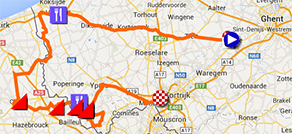 The Ghent-Wevelgem 2014 race route on Google Maps
