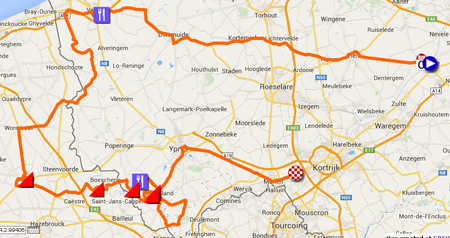 Download het parcours van Gent-Wevelgem 2015 in Google Earth