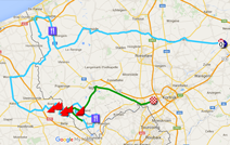 The map with the Ghent-Wevelgem 2016 race route on Google Maps