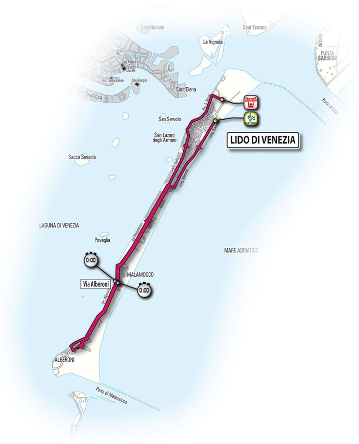 The route for the first stage - Lido di Venezia