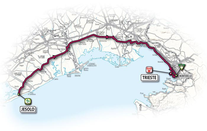 The route for the second stage - Jesolo > Trieste