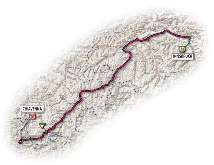 The route for the seventh stage - Innsbruck > Chiavenna