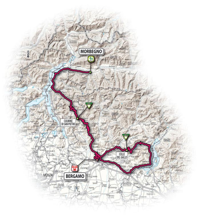 The route for the eighth stage - Morbegno > Bergamo