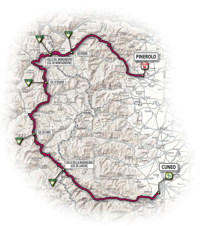 The route for the tenth stage - Cuneo > Pinerolo