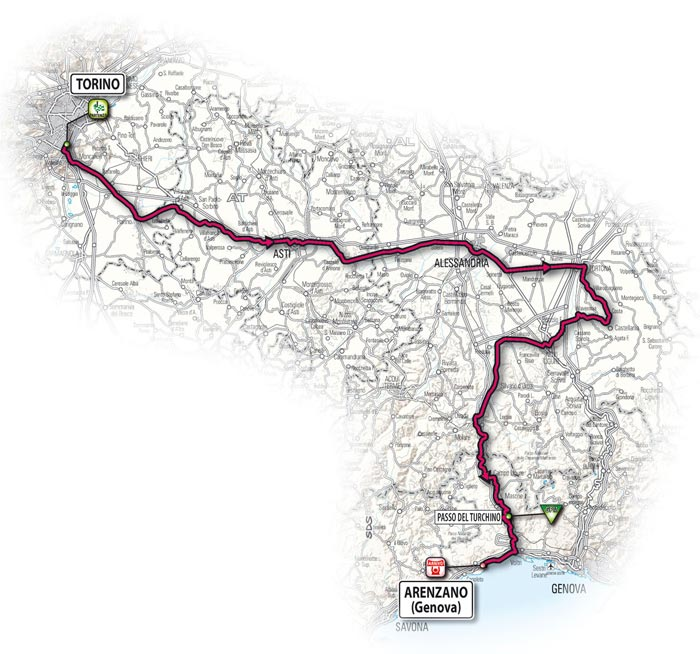 The route for the eleventh stage - Turin > Arenzano