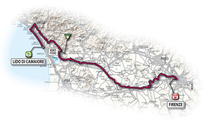 The route for the thirteenth stage - Lido di Camaiore > Firenze