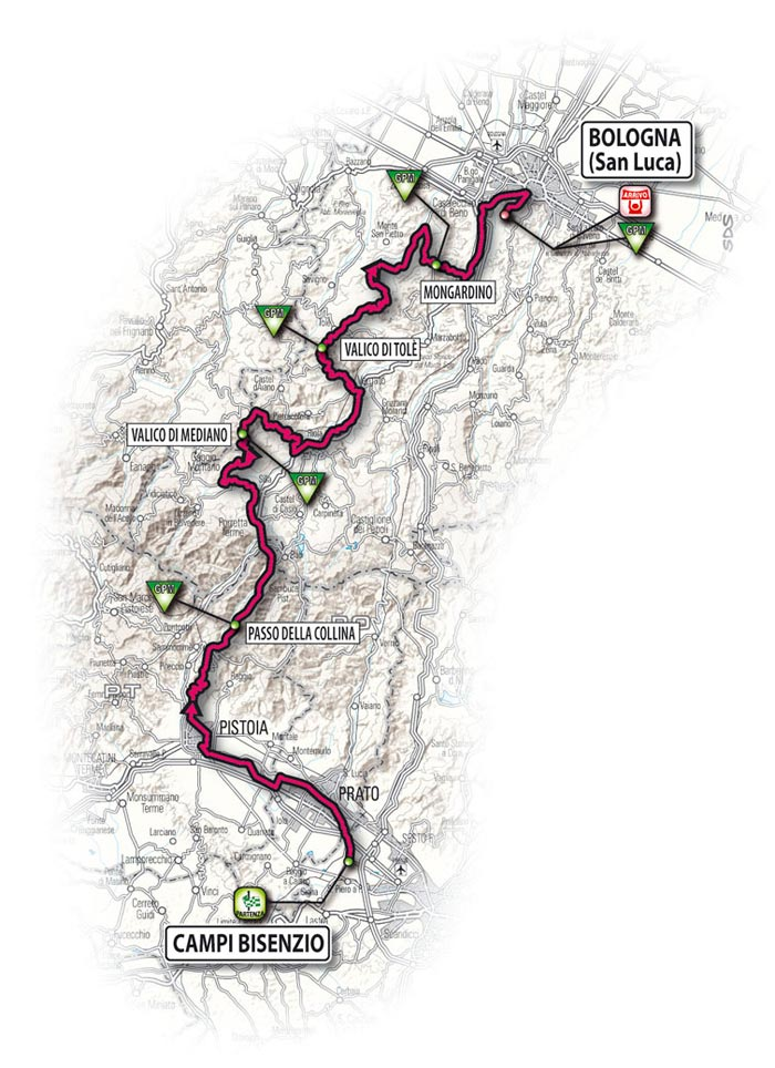The route for the fourteenth stage - Campi Bisenzio > Bologne