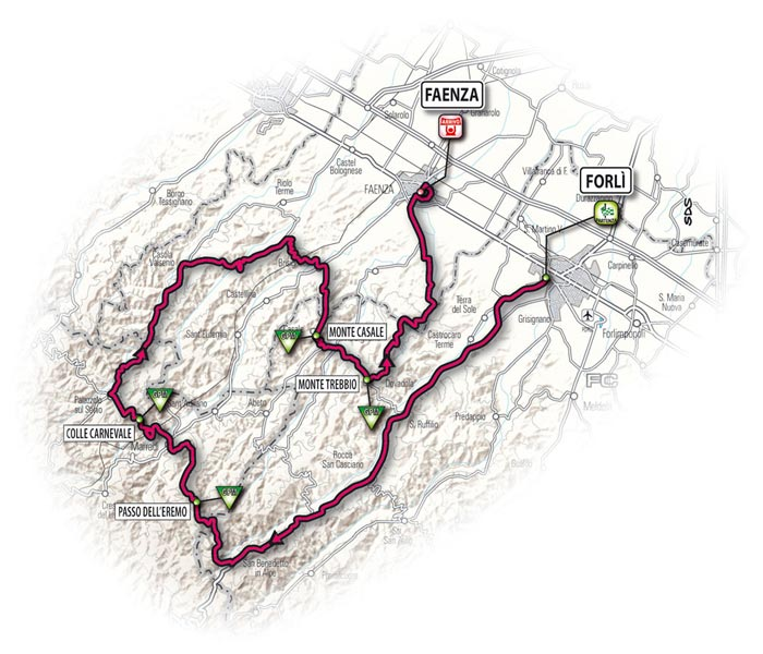 The route for the fifteenth stage - Forlì > Faenza