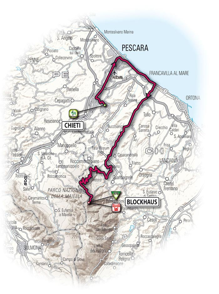 The route for the seventeenth stage - Chieti > Blockhaus