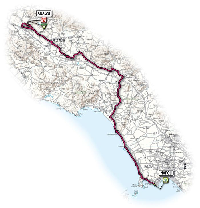The route for the twentieth stage - Naples > Anagni