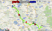 The route of the eighth stage of the Giro d'Italia 2010 on Google Maps