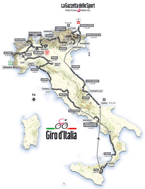 The 2011 Giro d'Italia 2011 route map