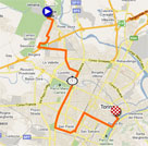 The map with the race route of the first stage of the Giro d'Italia 2011 on Google Maps