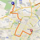 La carte du parcours de la première étape du Giro d'Italia 2011 sur Google Maps
