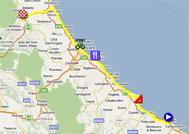 La carte du parcours de la dixième étape du Giro d'Italia 2011 sur Google Maps
