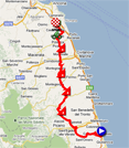 The map with the race route of the tenth stage of the Giro d'Italia 2011 on Google Maps