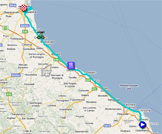 The map with the race route of the twelfth stage of the Giro d'Italia 2011 on Google Maps