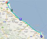 La carte du parcours de la douzième étape du Giro d'Italia 2011 sur Google Maps