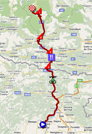 La carte du parcours de la treizième étape du Giro d'Italia 2011 sur Google Maps