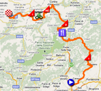 The map with the race route of the fifteenth stage of the Giro d'Italia 2011 on Google Maps