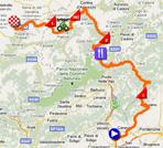 La carte du parcours de la quinzième étape du Giro d'Italia 2011 sur Google Maps
