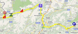 The map with the race route of the dix-seventh stage of the Giro d'Italia 2011 on Google Maps