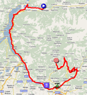The map with the race route of the dix-eighth stage of the Giro d'Italia 2011 on Google Maps